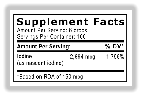 Supplement Facts Amount Per Serving: 6 drops Servings Per Container: 100 Amount Per Serving: Iodine (as nascent iodine) *Based on RDA of 150 mcg % DV* 2,694 mcg 1,796%