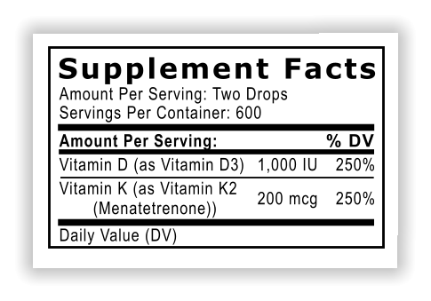 Supplement Facts Amount Per Serving: Two Drops Servings Per Container: 600 Amount Per Serving: Vitamin D (as Vitamin D3) Vitamin K (as Vitamin K2         (Menatetrenone)) Daily Value (DV) % DV 1,000 IU 250% 200 mcg 250%